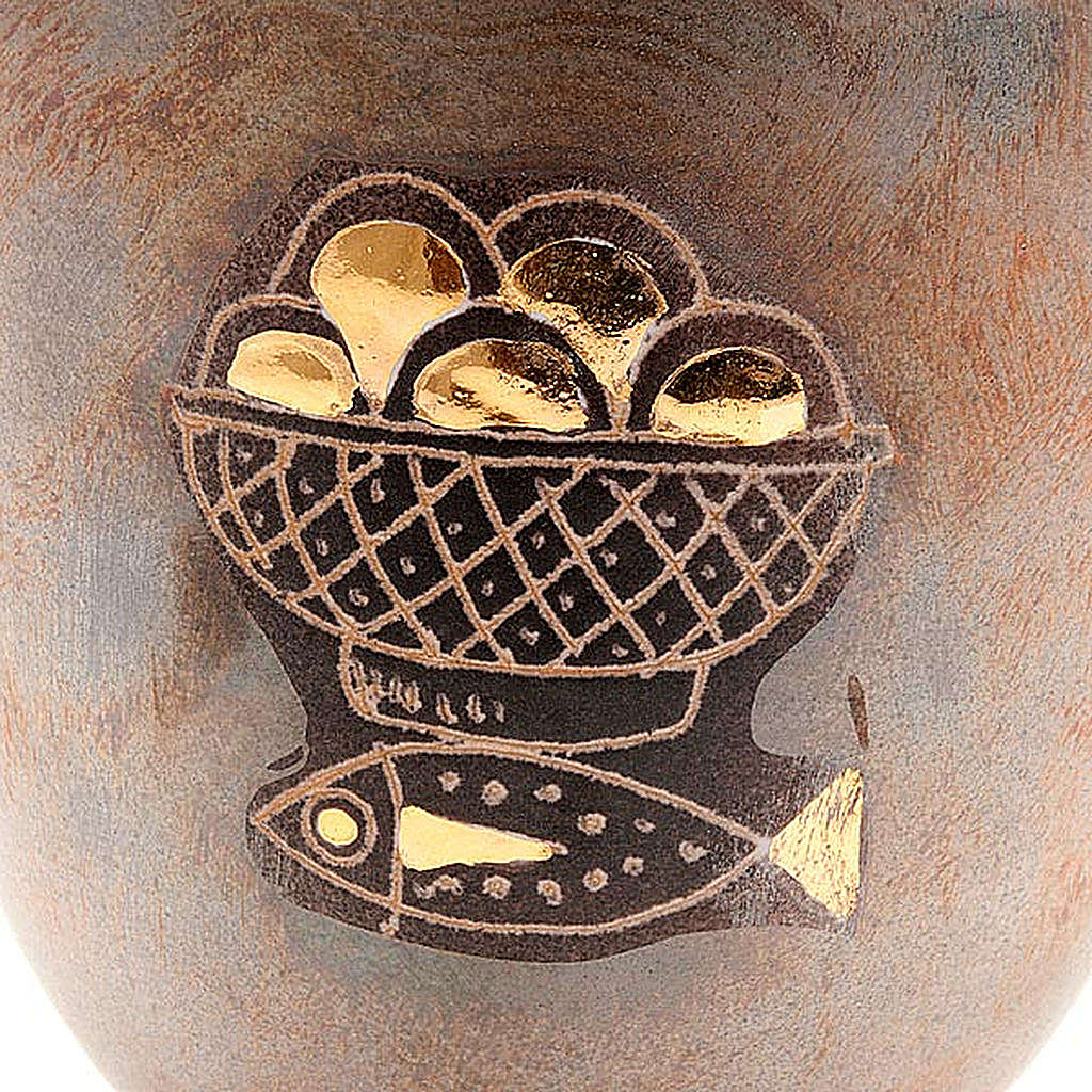 Calice ceramica piede tondo pani e pesci 4