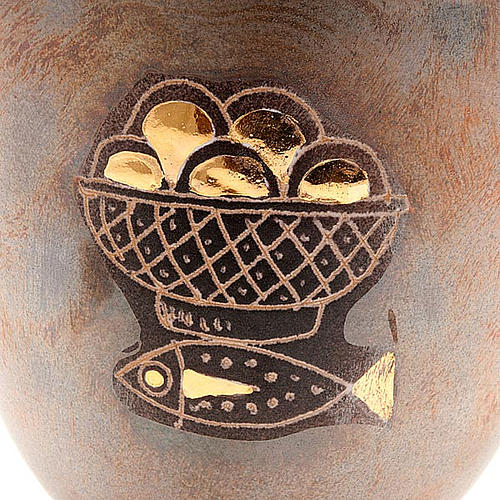 Calice ceramica piede tondo pani e pesci 2