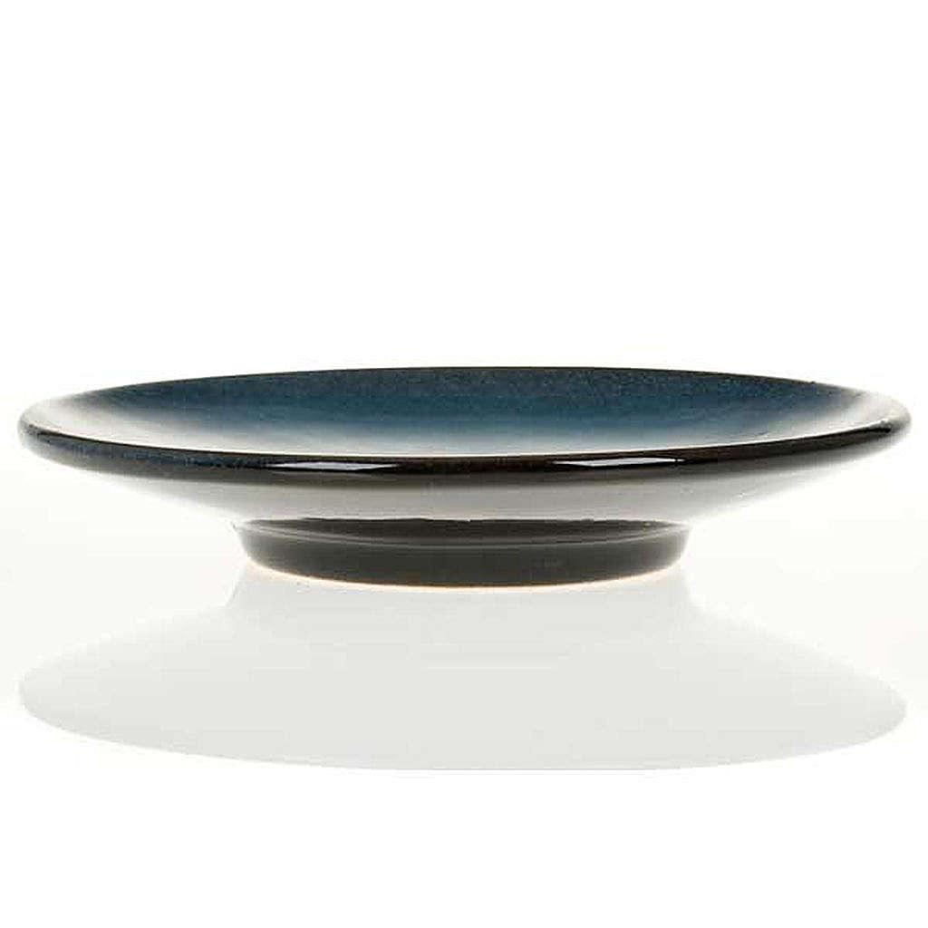 Platillo cubre cáliz, cerámica color turquesa símbolo Mariano 4