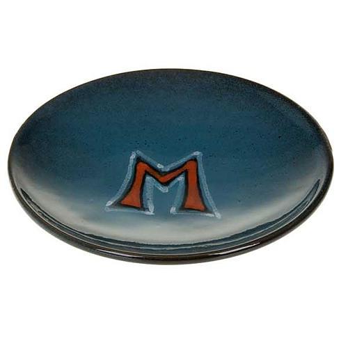 Platillo cubre cáliz, cerámica color turquesa símbolo Mariano 1