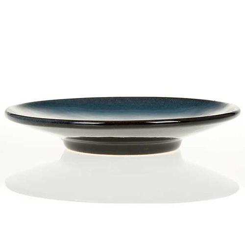 Platillo cubre cáliz, cerámica color turquesa símbolo Mariano 3