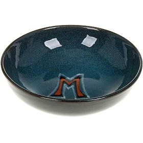 Ceramic paten with Marian symbol, 16 cm s1