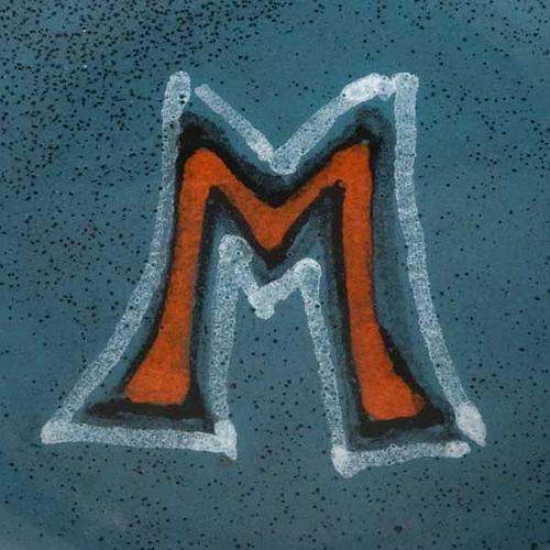 Patène céramique turquoise symbole Marial 2