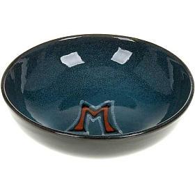 Ceramic paten with Marian symbol, 16 cm s1