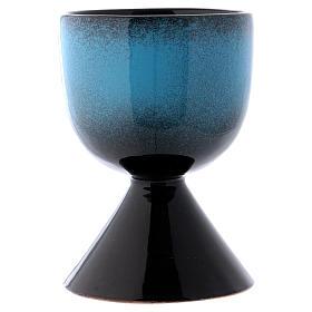 Cáliz de cerámica turquesa símbolo mariano s2