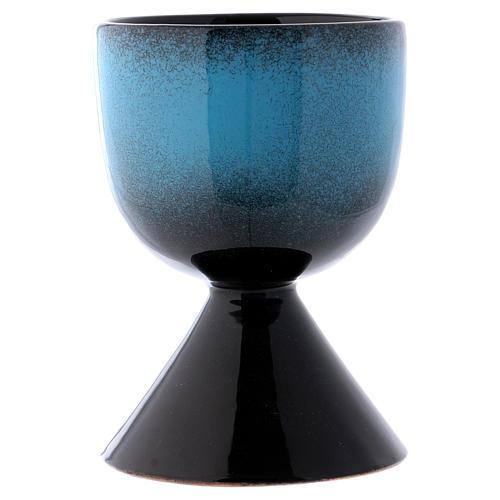 Cáliz de cerámica turquesa símbolo mariano 2