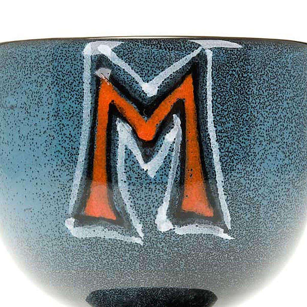 Calice turchese ceramica simbolo mariano 4
