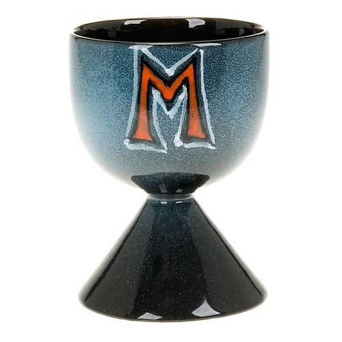 Calice turchese ceramica simbolo mariano 1