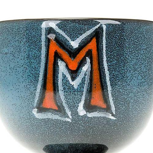Calice turchese ceramica simbolo mariano 2