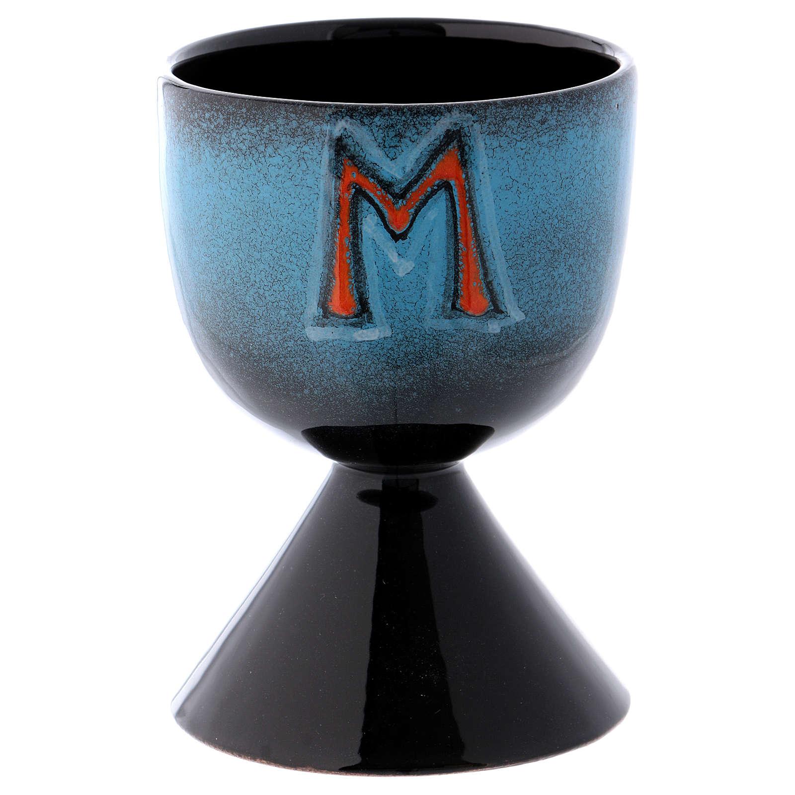 Kielich turkusowy ceramika symbol maryjny 4