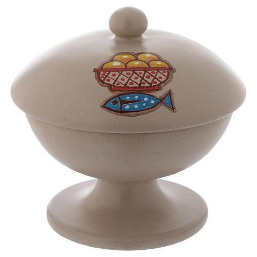 Pisside ceramica beige con coperchio 1