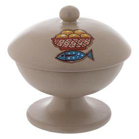 Ceramic ciborium with top, beige color s1