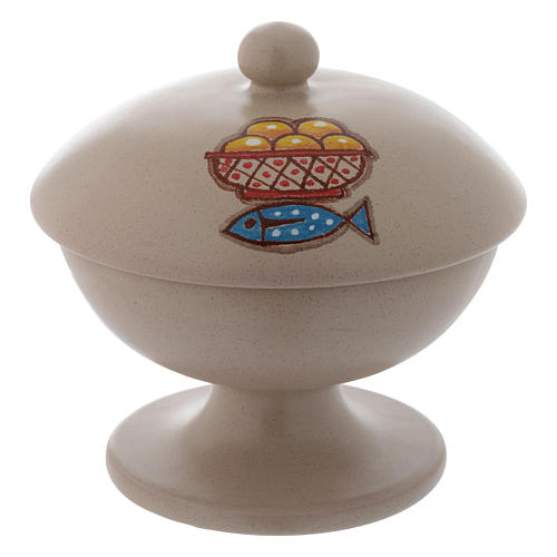 Ceramic ciborium with top, beige color 1