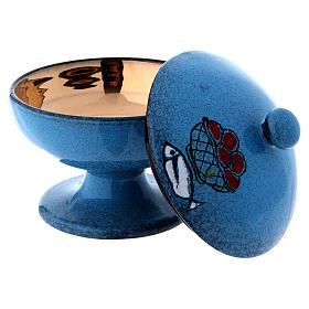 Pisside in ceramica blu con coperchio s3