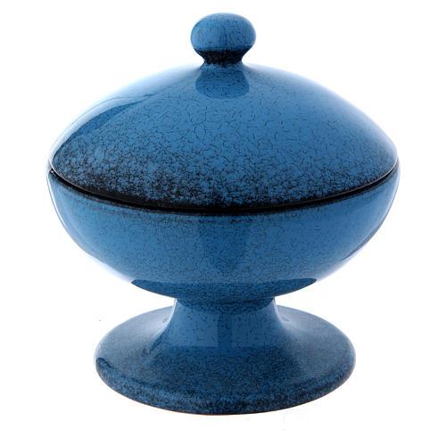 Pisside in ceramica blu con coperchio 2