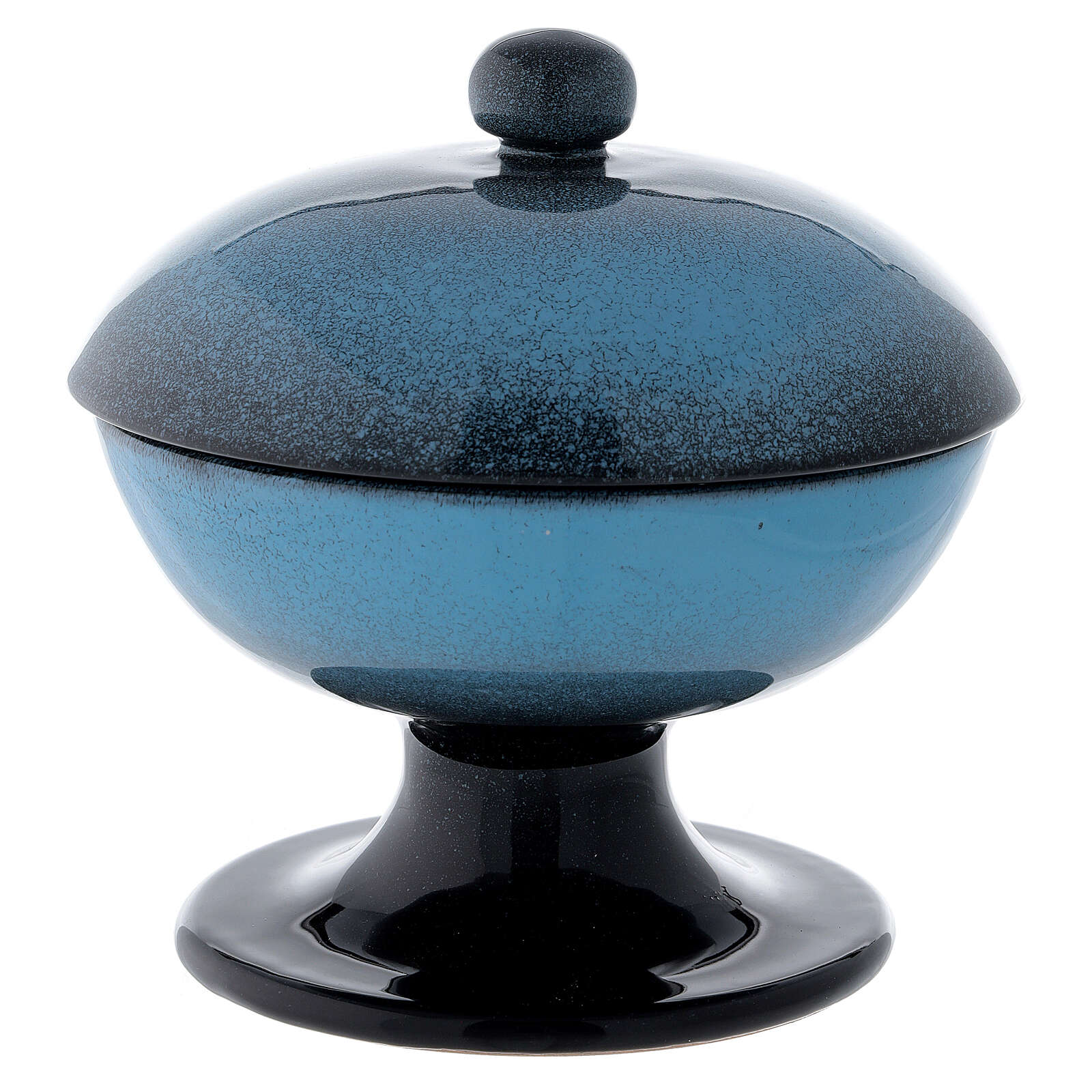 Ceramic ciborium with top, blue color 4