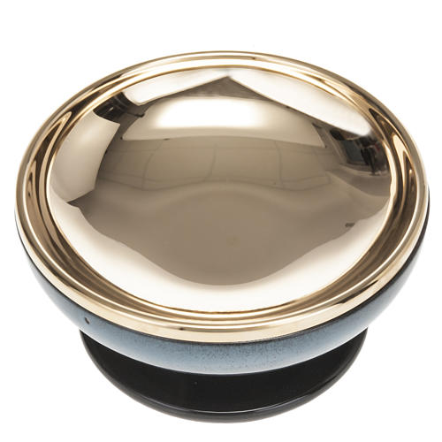 Pisside ceramica ottone dorato color turchese 3