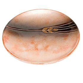 Piattino copri calice ceramica cotto antico e oro s1
