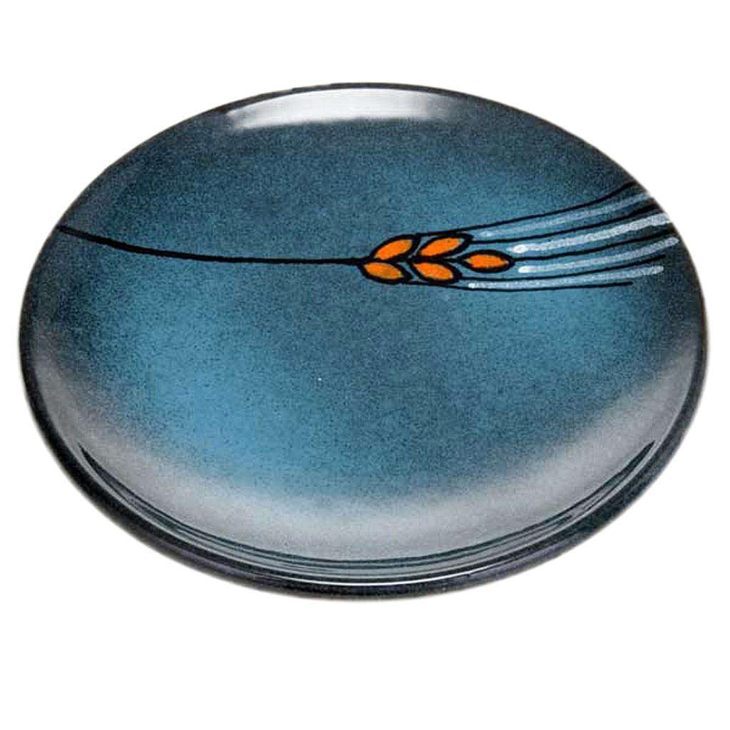 Assiette couvre calice en céramique turquoise 4