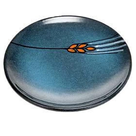 Assiette couvre calice en céramique turquoise s1