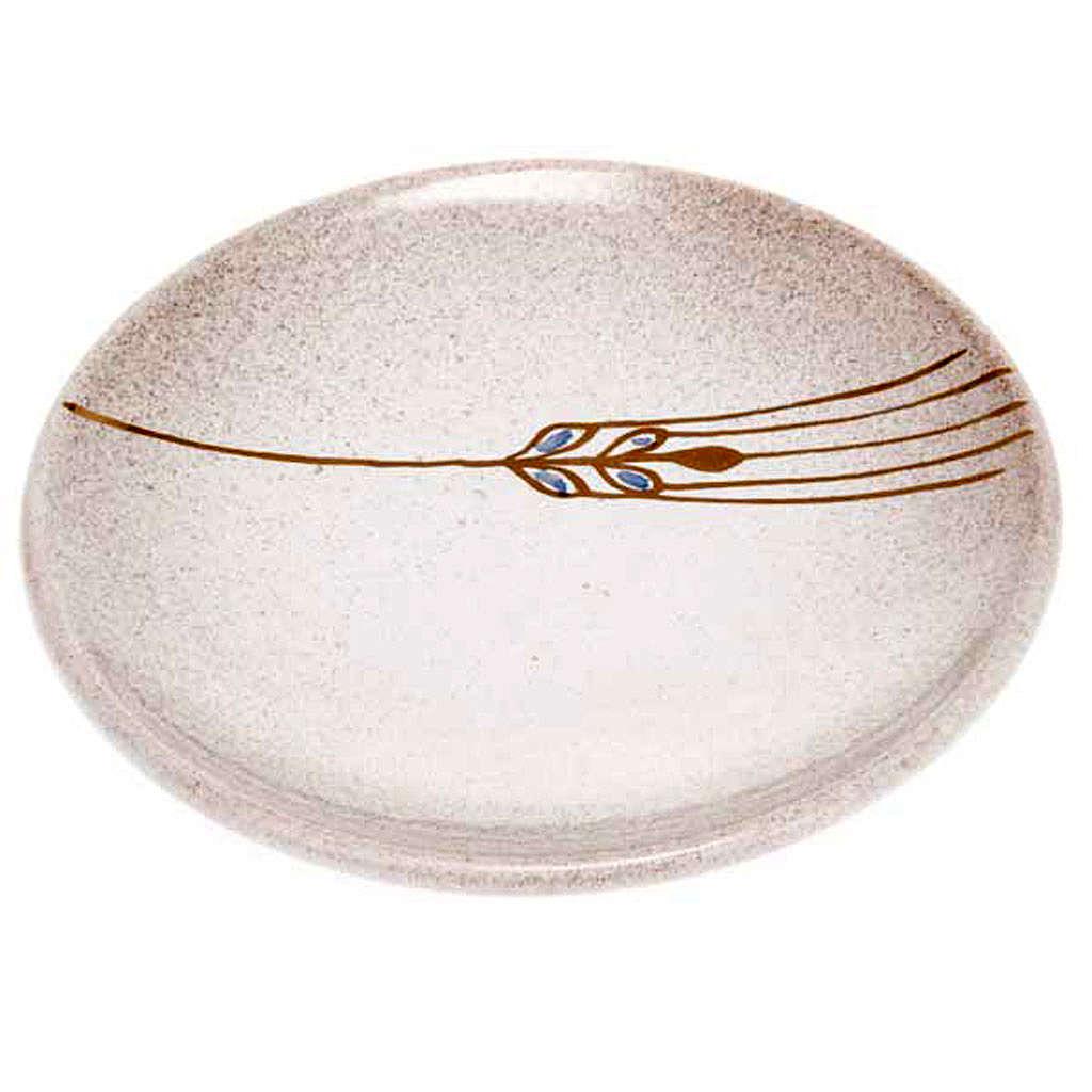 Prato para cobrir cálice cerâmica pérola e ouro 4