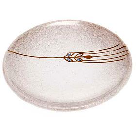 Prato para cobrir cálice cerâmica pérola e ouro s1