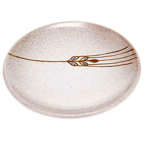 Prato para cobrir cálice cerâmica pérola e ouro 1