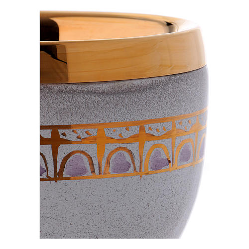 Ceramic and golden brass chalice, pearl colour 2