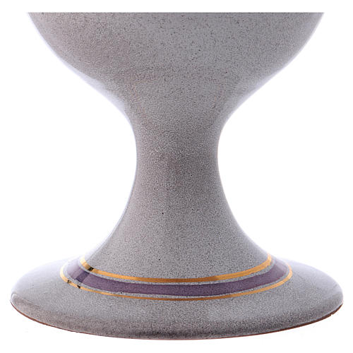 Ceramic and golden brass chalice, pearl colour 3