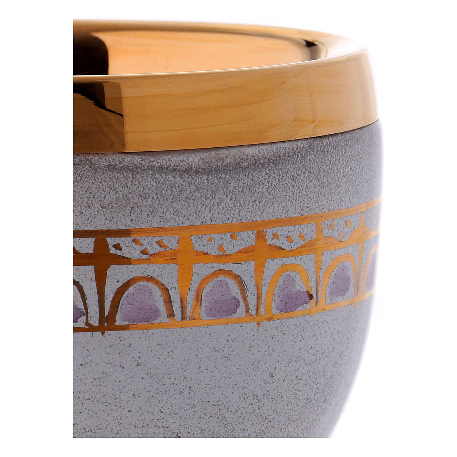 Calice ceramica perla e oro ottone dorato 4