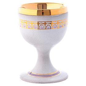 Calice ceramica perla e oro ottone dorato s1