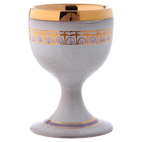 Pearl color ceramic communion chalice with cup 1