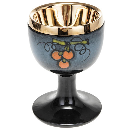 Blue ceramic communion chalice with cup 1