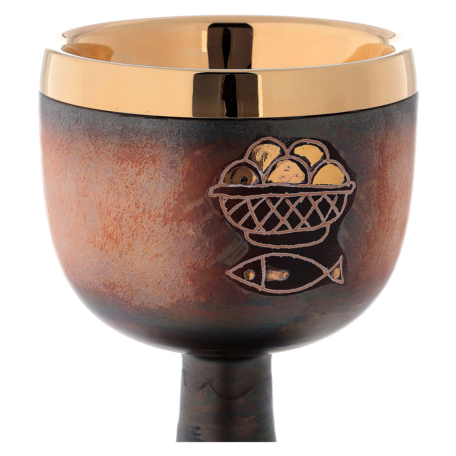 Brown and gold ceramic communion chalice with cup 4