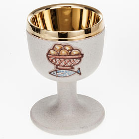 Ceramics Chalices Patens and Ciboria: Ceramic and golden brass chalice, beige