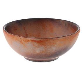 Patena de cerámica , 14cm Terracota y dorado s3