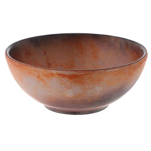 Patena de cerámica , 14cm Terracota y dorado 3