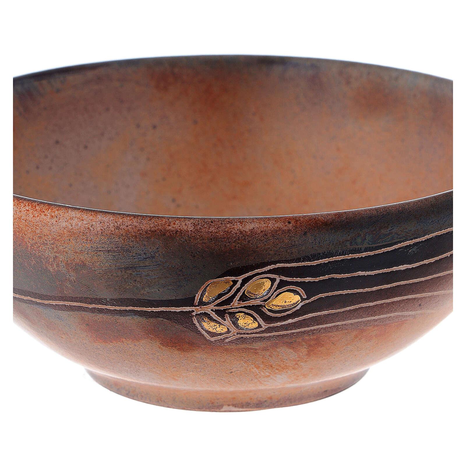Patena ceramica diam 14 cm cotto antico e oro 4