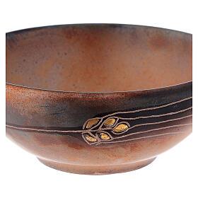 Patena ceramica diam 14 cm cotto antico e oro s2