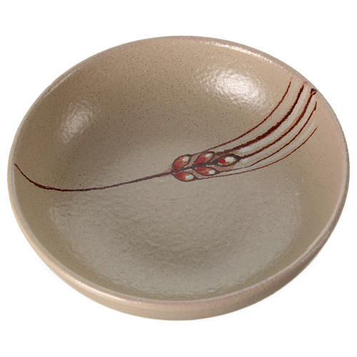 Ceramic decorated paten , 16 cm, Beige 2