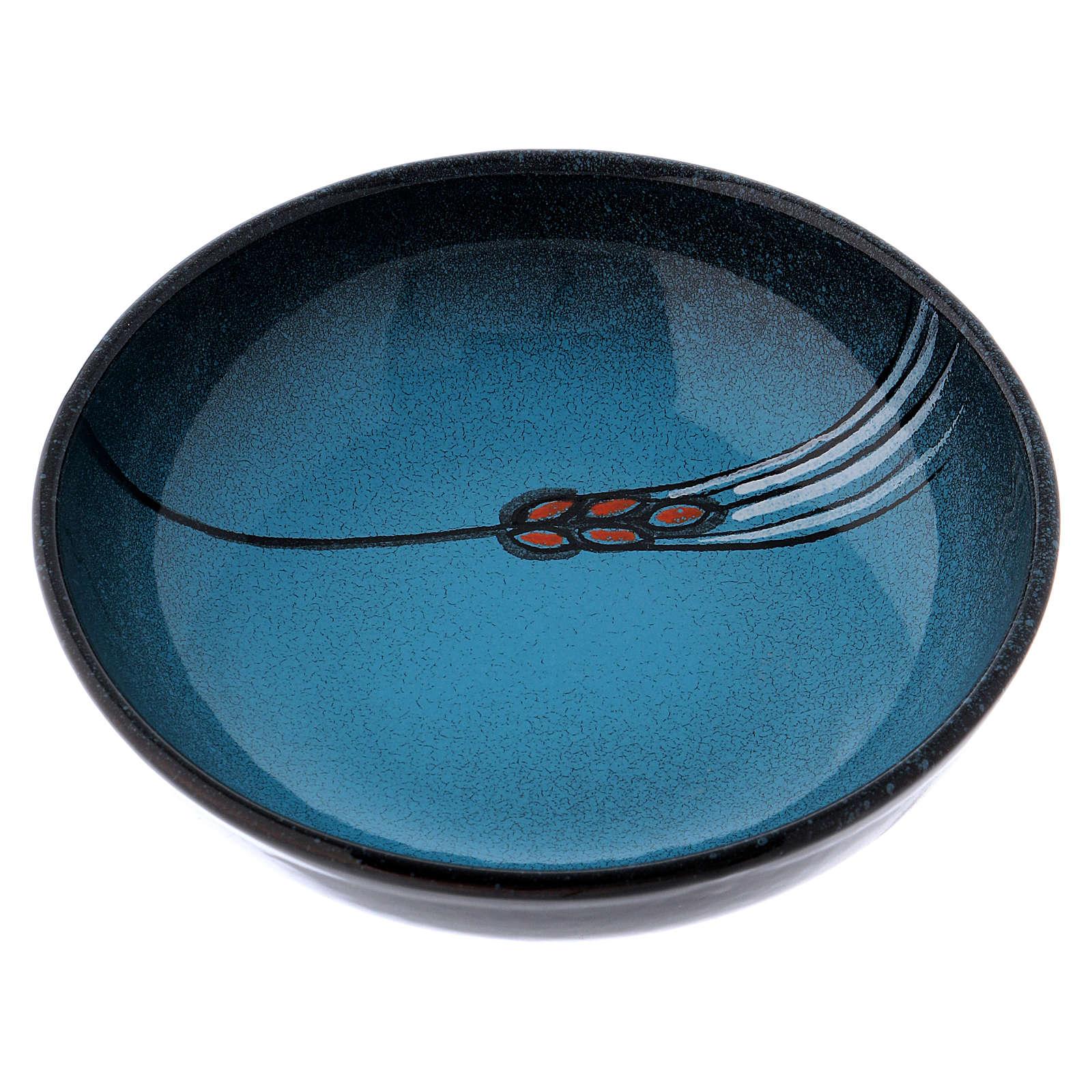 Ceramic decorated paten , 16 cm, Turquoise 4