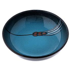 Ceramic decorated paten , 16 cm, Turquoise s1