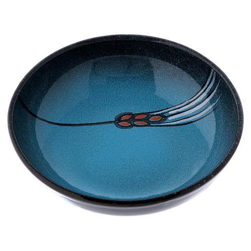 Ceramic decorated paten , 16 cm, Turquoise 1