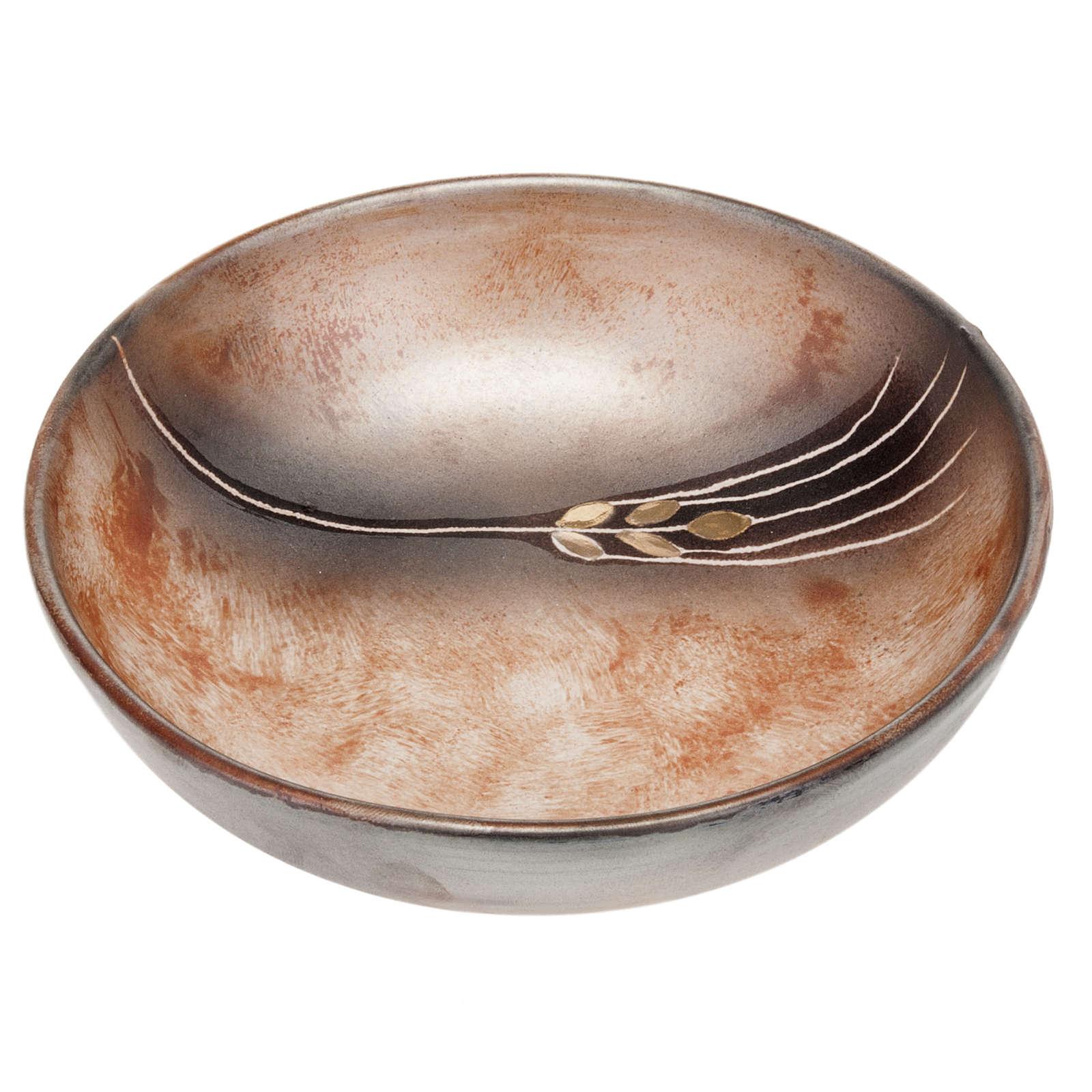 Ceramic decorated paten , 16 cm, Terracotta 4
