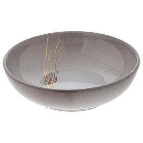 Ceramic decorated paten , 16 cm, Pearl color s2