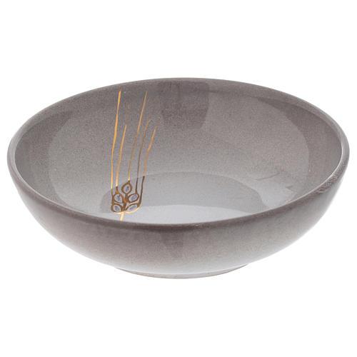 Ceramic decorated paten , 16 cm, Pearl color 2