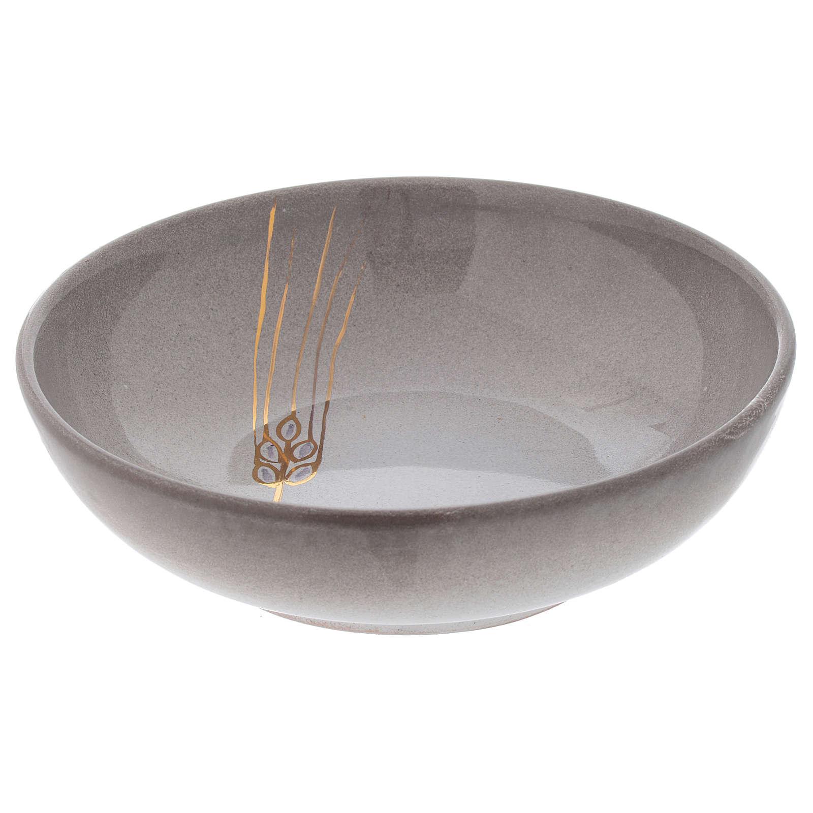 Patena de cerámica color perla y dorado 4