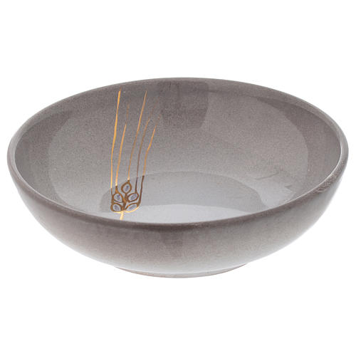 Patena de cerámica color perla y dorado 2