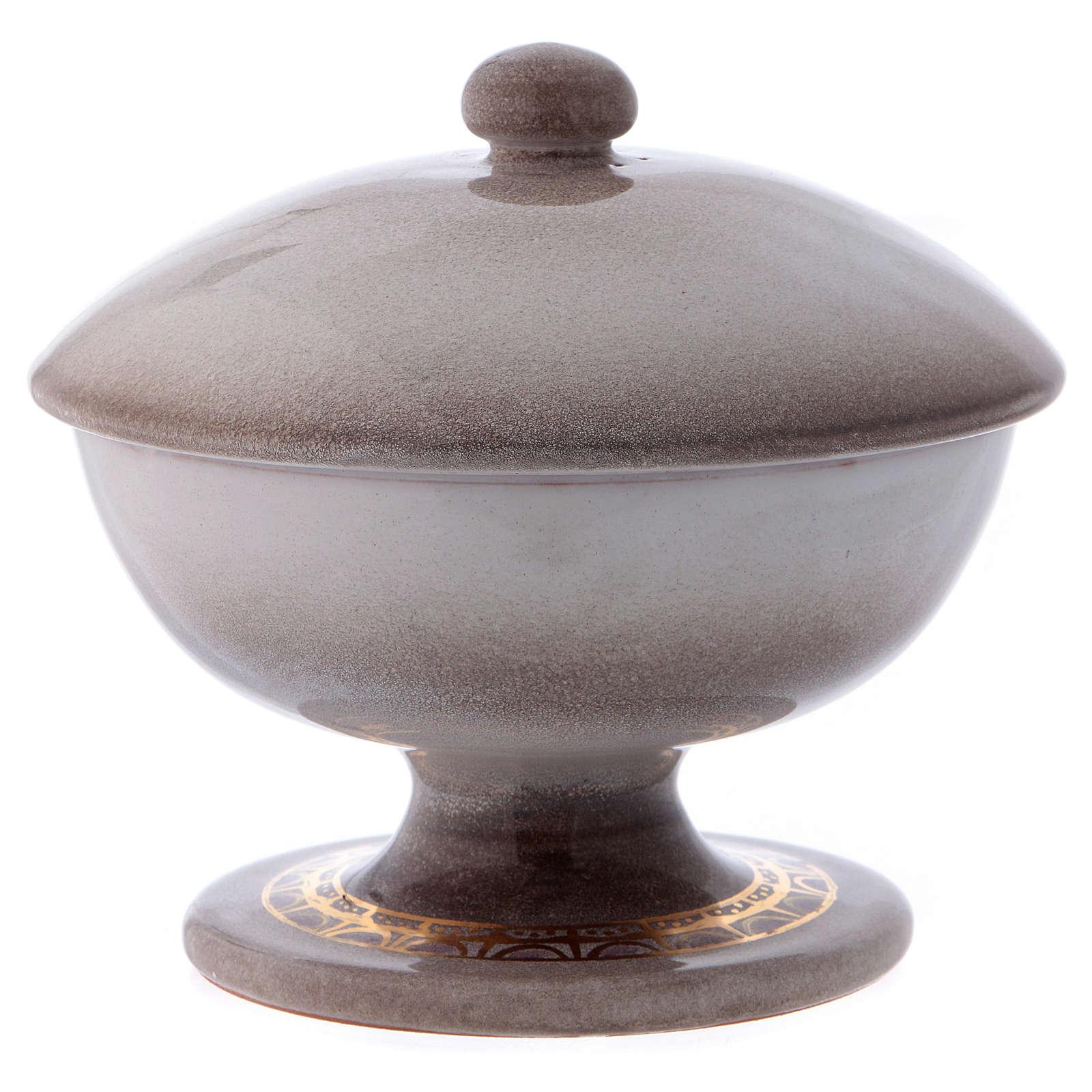 Pisside ceramica color perla con coperchio 4