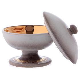 Ciborium in ceramic with top, pearl colour s2